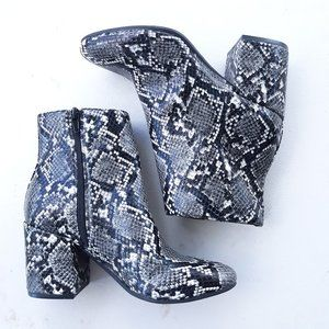 Bar III 6 Gatlin Snake Print Ankle Booties